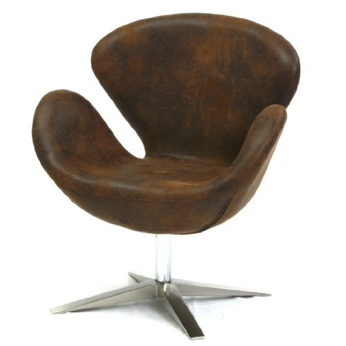 Christopher Knight Home 211696 Blake Brown Aged Microfiber Swan Design Chair w/Swivel Seat, ()