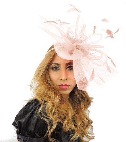 Sombreros Por Cressida Grand Dame 12pulgadas Sheer Ascot/Kentucky Derby Tocado Sombrero con Diadema rosa pastel
