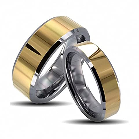 His & Her's 8MM/6MM Two Tone Gold Shiny Center & Beveled Edges Tungsten Carbide Wedding Band Ring Set , Sizes 5-14 Including Half Sizes. , Ladies Size 6 - Mens Size (His And Her Rings Tungsten)