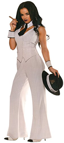 Women's Mob Boss Costume, White/Black, X-Large