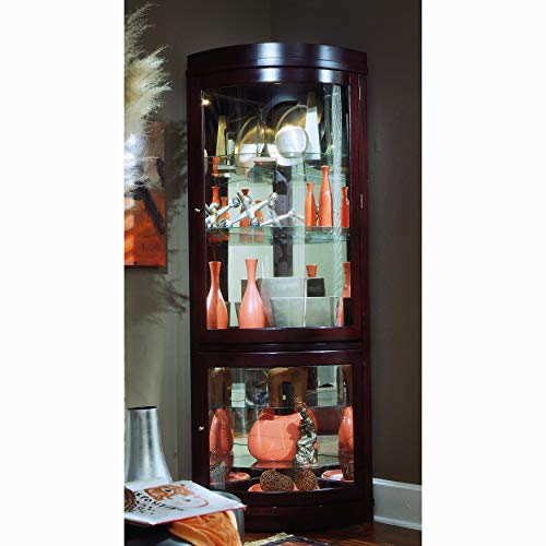 Sofaweb.com Chocolate Cherry Curved Front Corner Curio Cabinet - Front Corner Curio