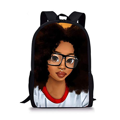 LedBack Middle School Backpack for Girls Teenage School Backpack American Afro Girls Design Bookbag (Hairstyles For African American Girls Ages 10 12)