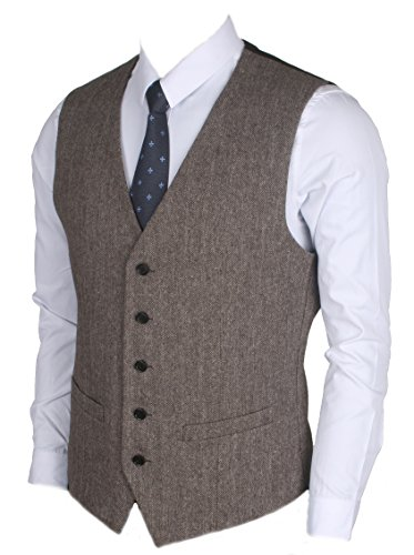 Ruth&Boaz 2Pockets 5Buttons Wool Herringbone / Tweed Business Suit Vest (XXXL, Herringbone brown) Brown Wool Suit