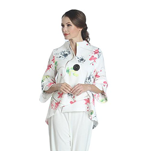 IC Collection Watercolor Floral Print Asymmetric Jacket - 1177J (Large) by IC Collection