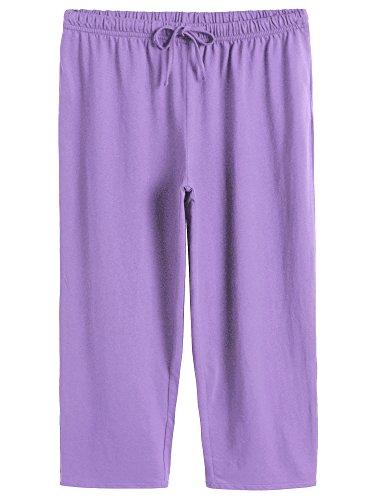 (Latuza Women's Cotton Capri Pants Sleep Capris 2X Purple)