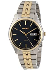 Seiko Mens SNE034 Two-Tone Solar Bluish black Dial Watch