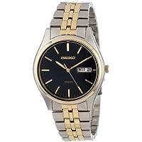 Seiko Men's SNE034 Two-Tone Solar Bluish black Dial Watch