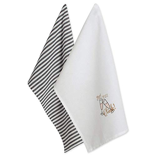 DII 100% Cotton 18x28 Chritmas New Year Dish Towels Set of 2-POP Fizz CLINK,