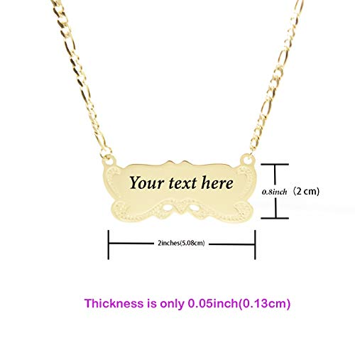 a15c18f1fab45 Tina&Co Personalized Bar Necklace Custom Engraved Chain Necklace 14K  Gold-Plated Stainless Steel Handmade Name Pendant Necklace Jewelry Gift for  Women ...