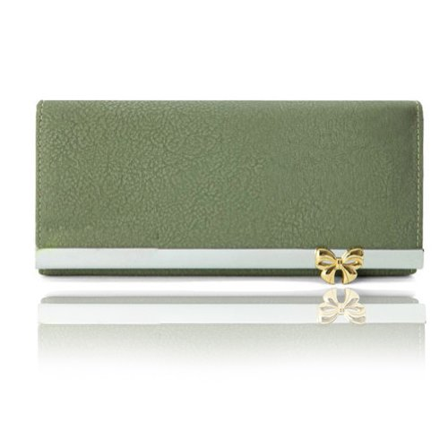 Damara Women Bowknot Design 12 Colors Large Clutch Wallet Green