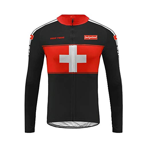Uglyfrog HUSChangXDS14 Mens Thermodream Cycling Jersey National Flag Pattern Design Full Sleeve Thermal Roubaix Cycling Jacket Bicycle Equipment ()