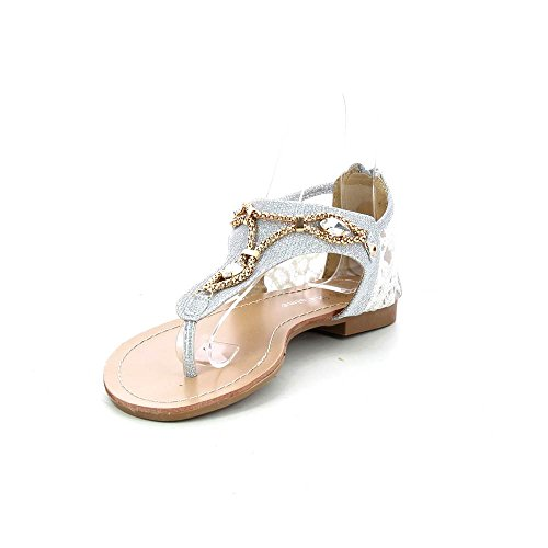 Go Tendance - Sandals flat has decorations chains and diamonds - Woman - Silver, 37