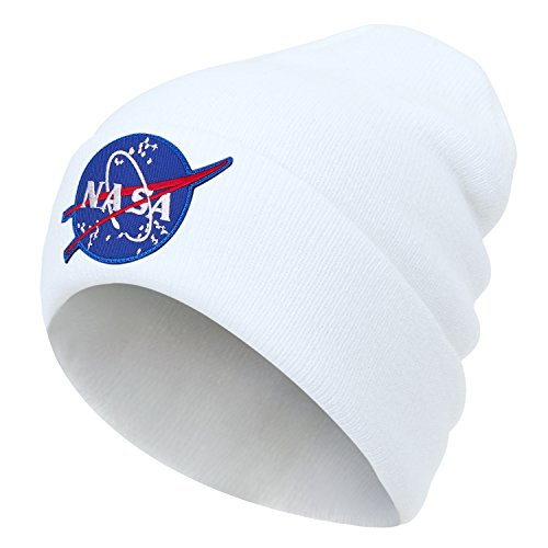 Ribbed Soft Over Embroidery Knit ililily Hat Logo Meatball White Fold NASA Beanie xqwn18na