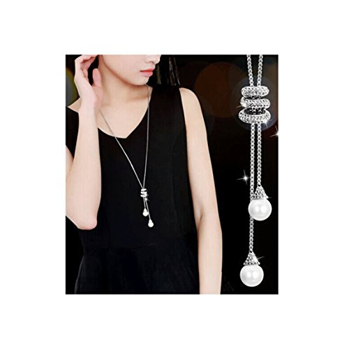 Shoopic Crystal Pearl Tassel Pendant Necklace Long Sweater Necklace for Women Girls Crystal Long Necklace