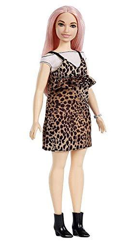 Boneca Barbie Fashionista 109 Cabelo Rosa Pplus Size Vestido Oncinha