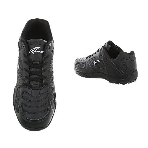 Ital-Design Damenschuhe Herrenschuhe Unisex Low Top Sneakers Sportschuhe Freizeitschuhe Schwarz Y-2668A