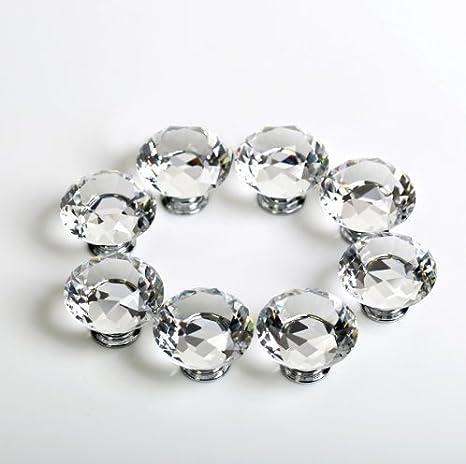 con vite 10 x 30 mm per credenze della cucina e cassettiere Dproptel pomelli in cristallo acrilico tagliati a forma di diamante per la decorazione della casa