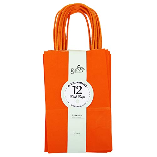 12CT Small Orange Biodegradable, Food Safe Ink & Paper, Premium Quality Paper (Sturdy & Thicker), Kraft Bag with Colored Sturdy Handle