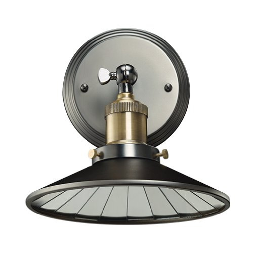 Bulbrite NOS/SCON/Shade-PW Vintage 1-Light Brass Shade with Mirrored Reflector Wall Sconce, Pewter Finish
