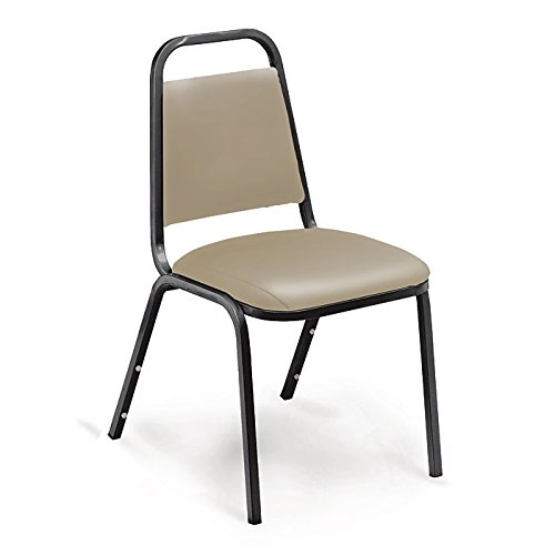 National Public Seating 9101-B NPS Vinyl Upholstered Stack Chair, French Steel, Beige