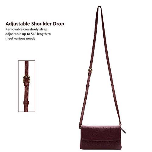 Phone Wristlet Square Flap Burgundy Clutch Strap Detachable With Wallet Leather Shoulder Purse Crossbody Full Grain Befen tqwYHfw