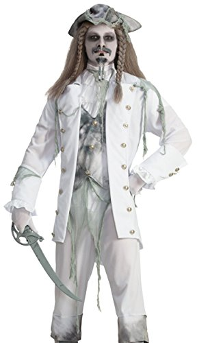 Forum Novelties Men's Ghost Captain Costume, White/Gray, One (Spirit Halloween Pirate Costumes)
