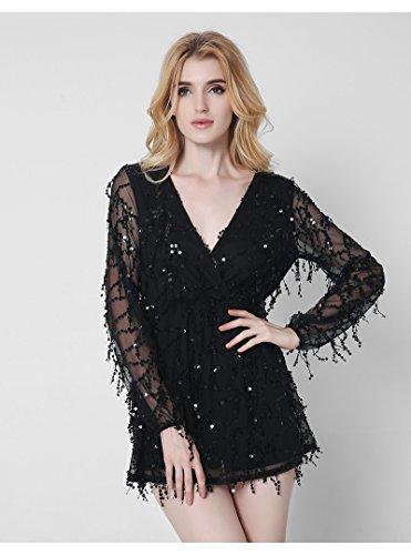 Vestido Gasa-Roca Mujer IHRKleid® Borla Lentejuelas Corto Roca Negro