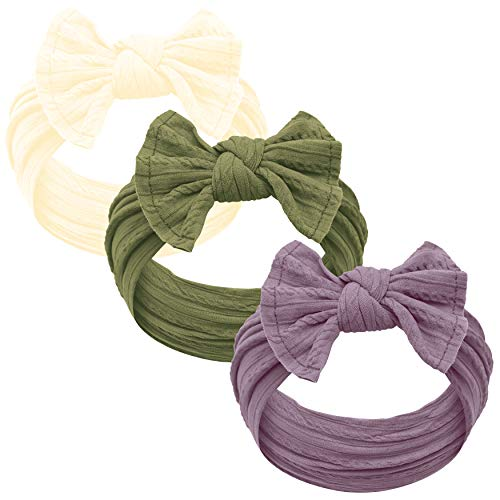Baby Girl Headbands and bows - Nylon Headband Fits newborns toddlers infants girls (Ivory - Olive - Lilac -