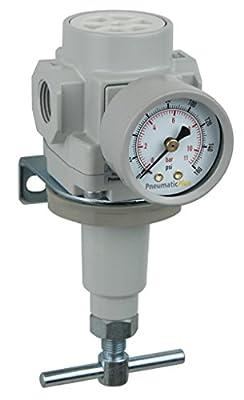 "PneumaticPlus SAR400T-N06BG Compressed Air Pressure Regulator 3/4"" NPT with Gauge & Bracket (T-Handle)"