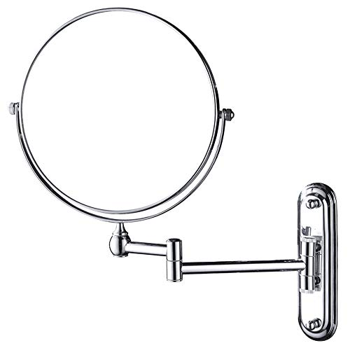 GURUN 10x Magnification Wall Mounted Mirror Swing ArmTwo Sided,8 Inch, Solid Bathroom Mirrors Wall Mounted Chrome Finish M1207 8in,10x
