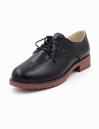 Black Décontracté Blanc bureau Uk4 Talon Plateau richelieu Njx noir Habillé Eu36 Bout Chaussures a Arrondi Cn36 us6 Marron similicuir amp; gros Femme Travail xYz4FqUz