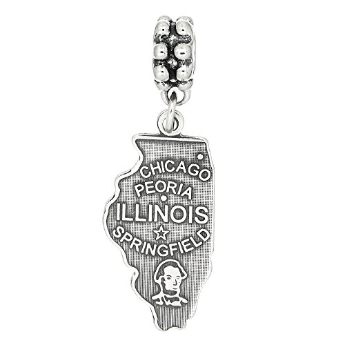 Lgu Sterling Silver Oxidized State of Illinois Dangling European Bead Charm