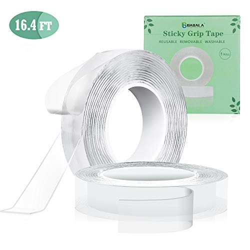 BABALA Traceless Adhesive Tape - 16.4FT Nano Double Sided Transparent Tape Reusable Anti-Slip Gel Pads, Multifunctional Sticky Strips Grip for Fixing Floor Mats Phone Picture Pen (Clear, ()