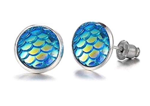 HYPOALLERGENIC Mermaid Earrings for Little Girls Glitter Rainbow Scales Blue