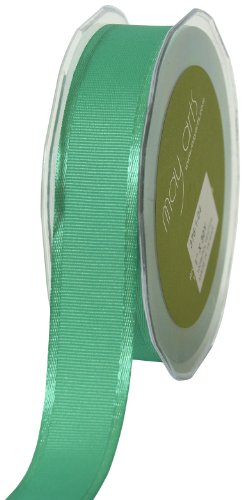 May Arts 1-Inch Wide Ribbon, Teal Grosgrain with Satin Edge