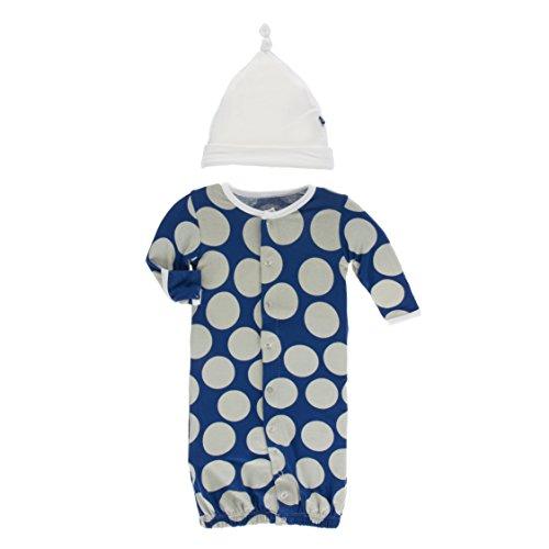 Kickee Pants Little Girls Print Layette Gown Converter & Knot Hat Set - Navy Mod Dot, 0-3 ()