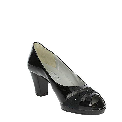 Cinzia Soft 311190 Zapatos con Punta Abierta Mujer Negro