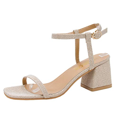 Women's Casual Wedge Sandal, MmNote Comfortable Slide Adjustable Fashion Hundreds Ankle-Strap Chunky Heel Sandal Gold]()