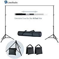LimoStudio 10 ft Wide x 7 ft Tall Backdrop Muslin Support Stand and Cross Bar Kit with Sand Bag and Carry Bag for Photo Video Studio, AGG2600