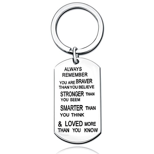 Dukars Remember I Love You Mom Premium Stainless Steel Cuff Bangle Bracelet,Jewelry Gifts for Mom from Daughter Son (Inspiring Keychain)