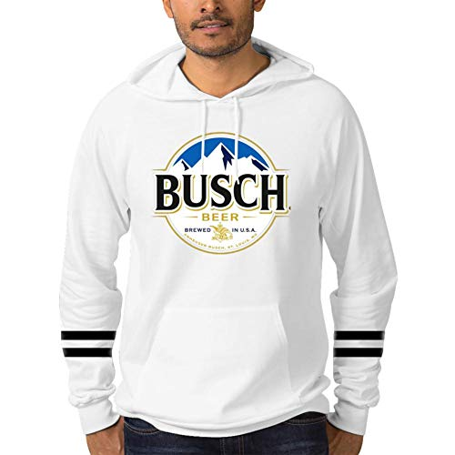 - Men Casual Cotton Busch Beer Logo Novelty Hoodies with Pocket, Pullover Hoodies Long Sleeve Hooded Sweatshirt XL White