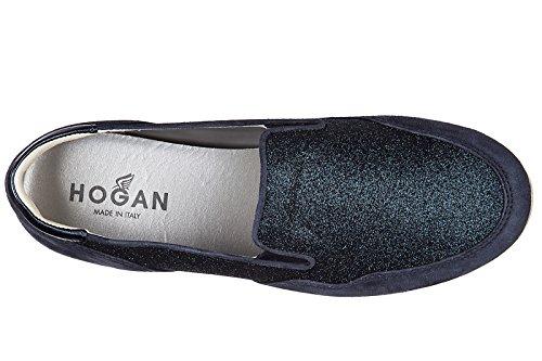 Hogan Slip Sur Femme En Daim Sneakers Nouveau Original H222 Pantoufle Bleu