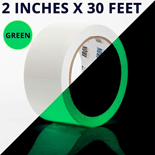 Glow Tape - 2 Inch x 30ft Vinyl Adhesive Green Glow-in-The-Dark Tape Roll - Lasts Up to 12 Hours (Tape Glow Dark The 2 In)