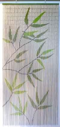 EVIDECO 650 5500650 Bamboo Leaves Design Beaded Curtain Doorway 90 Strings Hanging Bamboo Curtains