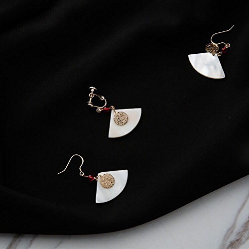 - usongs Natural shell pierced earrings fan-shaped metal minimalist retro handmade earrings onyx earrings