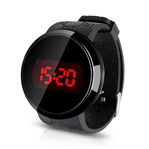 UNAKIM--LED Day Black Fashion Men's Date Silicone Waterproof Touch Screen Watch
