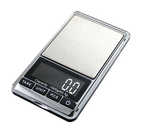Mini Digital LCD Jewelry Pocket GRAM Scale, 1KG Max Capacity - 1000 X 0.1 G + Calibration Weight Kit - Class M2
