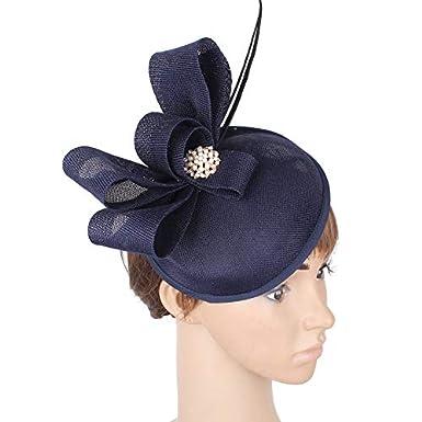 JYDIY Imitation Sinamay Fascinator Hat with Feather Wedding Derby Headpieces