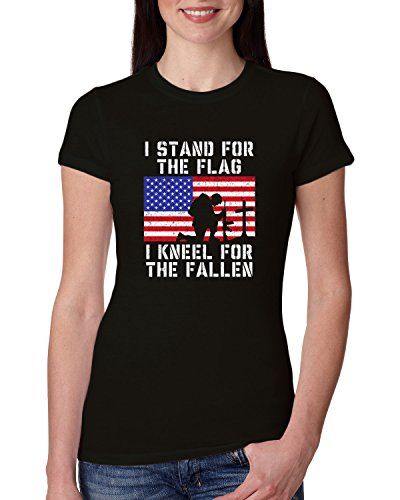 Stand Juniors T-shirt - I Stand for The Flag I Kneel for The Fallen   Womens Americana/American Pride Junior Fit Tee Graphic T-Shirt, Black, Small