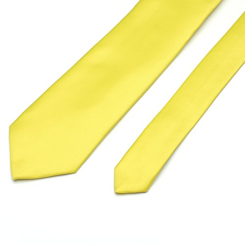 Neckties in Polyester Satin Party Colors Work Men for Color Plain 9 Pure 22 Solid Formal Classic Wedding yellow Neck Ties ZzwgpZ
